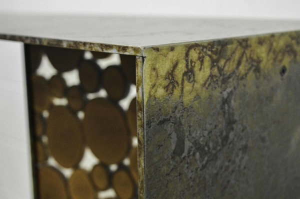 steel console table close up