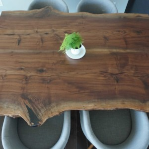 walnut live edge slab dining table