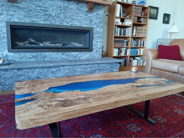 resin river live edge coffee table
